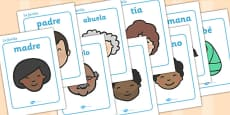 My Family KS1 Family Word Cards Spanish