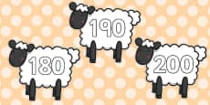 Numbers 10-200 on Sheep Display Cards