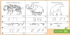 Stone Age Animals Colouring Pages