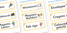 Sunshine Themed Editable Writing Area Resource Labels