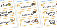 Amber Themed Editable Additional Classroom Resource Labels