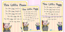 Australia - This Little Piggy Nursery Rhyme Poster