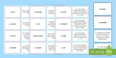 * NEW * Sports Card Game French