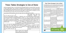 Useful Strategies for Learning Multiplication Tables Parent and Carer Information Sheet