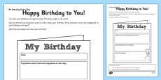 Happy Birthday to You Activity Sheet