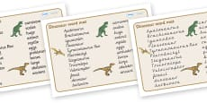 Dinosaurs Word Mat (All Text Version)