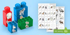 Polar Region Animals Matching Connecting Bricks Game