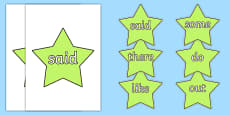 Phase 4 Coloured Tricky Words on Stars