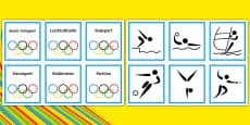 Olympic Sports Matching Cards German / Deutsch