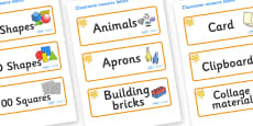 Amber Themed Editable Classroom Resource Labels