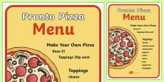 Pizza Shop Role Play Menu