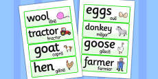 On the Farm Word Cards Romanian Translation