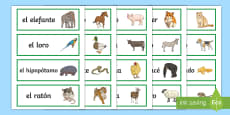 Animals Word Cards Spanish