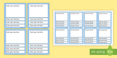 Editable Card Game Templates (Blue)