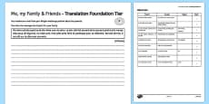 Me, My Family and Friends Foundation Tier Translation Activity Sheet
