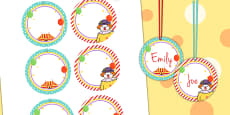 Circus Themed Birthday Party Name Tags