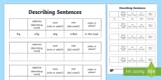 Describing Sentences Activity