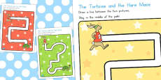 The Tortoise and the Hare Pencil Control Path Activity Sheets (Australia)