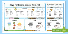 Days, Months and Seasons Word Mat English/Polish