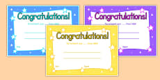 Editable Times Table Certificate