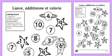 Space Roll and Colour Dice Addition Activity French