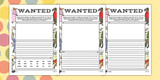 Mr Fox Wanted Poster Activity Sheet Pack to Support Teaching on Fantastic Mr Fox