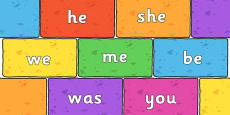 Phase 3 Tricky Words on Multicoloured Bricks