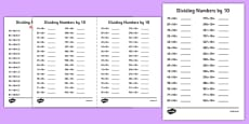 Dividing Numbers by 10 A5 Activity Sheet