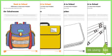 Back to School Read Trace Write Colour Activity Sheets - German