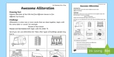 Awesome Alliteration Activity Sheet