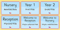 School Year Group Signs EAL Czech Version