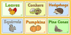 Editable Class Group Signs (Autumn)