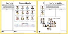 Esta es mi familia Activity Sheet Spanish