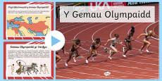 Pŵerbwynt Gwybodaeth am y Gemau Olympaidd Cymraeg Welsh / Cymraeg