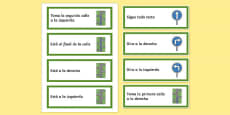 Directions Word Cards Spanish / Español