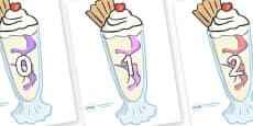 Numbers 0-100 on Ice Cream Sundaes