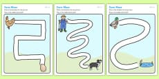 Farm Pencil Control Path Activity Sheets