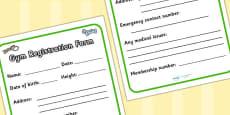 Gym Role Play Registration Form