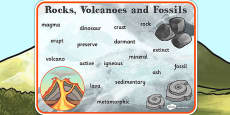 Rocks Volcanoes and Fossils Word Mat