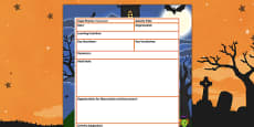 Halloween Themed Adult Led Focus Planning Template