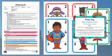 EYFS Build a Superhero Game Addition Version Busy Bag Plan and Resource Pack