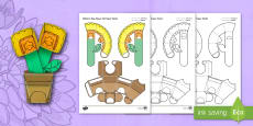 Simple 3D Mothers Day Flower Pot Activity Paper Craft