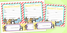 Animal Themed Birthday Party Invitations
