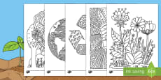 Earth Day Mindfulness Colouring Sheets English/Romanian