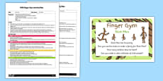 EYFS Finger Gym Plan and Prompt Card Pack to Support Teaching on Stick Man
