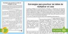 * NEW * Guía: Estrategias para aprender tablas de multiplicar