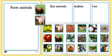 Photo Fruit, Vegetables, Farm Animals and Zoo Animals Sorting Activity