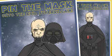 Space Wars Pin the Mask onto the Evil Supervillain Party Game
