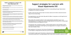 Support Strategies for Learners with Visual Impairments Adult Guidance