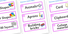 Pink Themed Editable Classroom Resource Labels